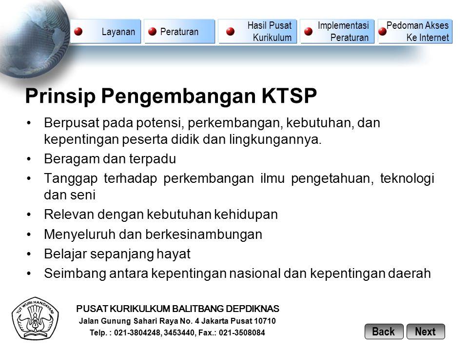 Prinsip Pengembangan KTSP Berpusat pada potensi, perkembangan, kebutuhan, dan kepentingan peserta didik dan lingkungannya. Beragam dan terpadu Tanggap