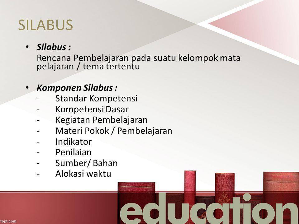SILABUS Silabus : Rencana Pembelajaran pada suatu kelompok mata pelajaran / tema tertentu Komponen Silabus : -Standar Kompetensi -Kompetensi Dasar -Ke