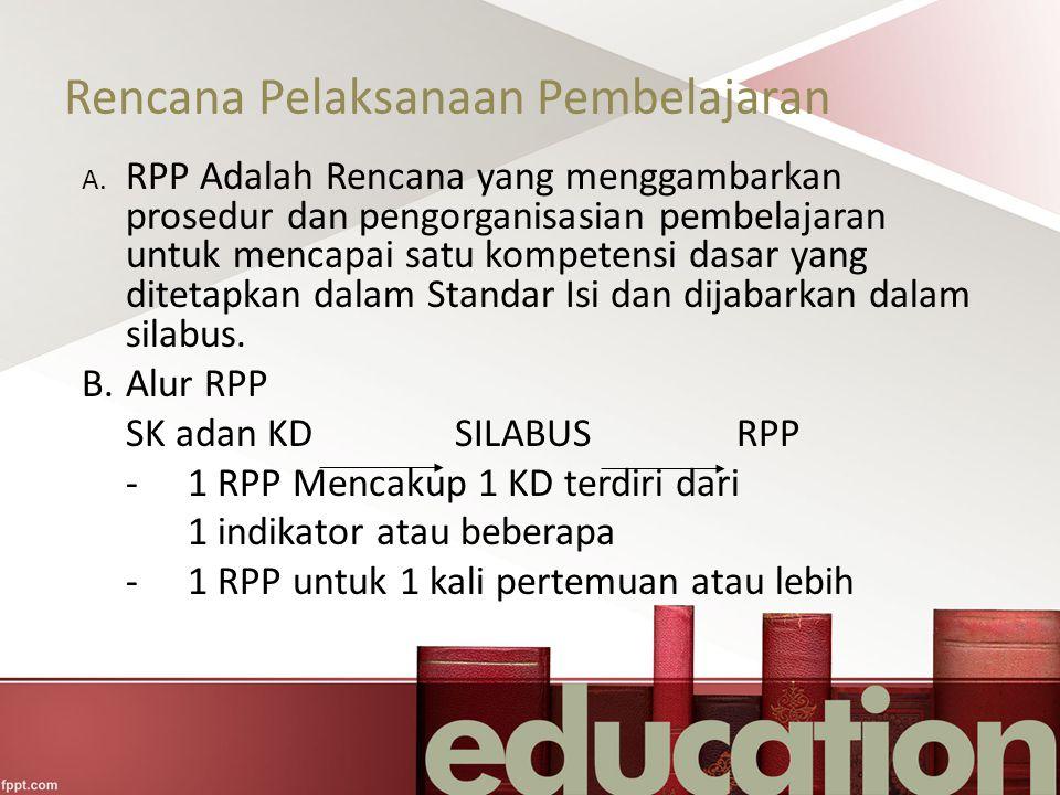 Rencana Pelaksanaan Pembelajaran A. RPP Adalah Rencana yang menggambarkan prosedur dan pengorganisasian pembelajaran untuk mencapai satu kompetensi da