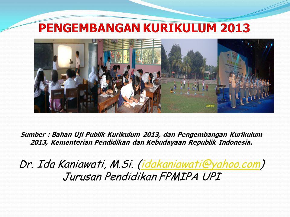 Sumber : Bahan Uji Publik Kurikulum 2013, dan Pengembangan Kurikulum 2013, Kementerian Pendidikan dan Kebudayaan Republik Indonesia. Dr. Ida Kaniawati
