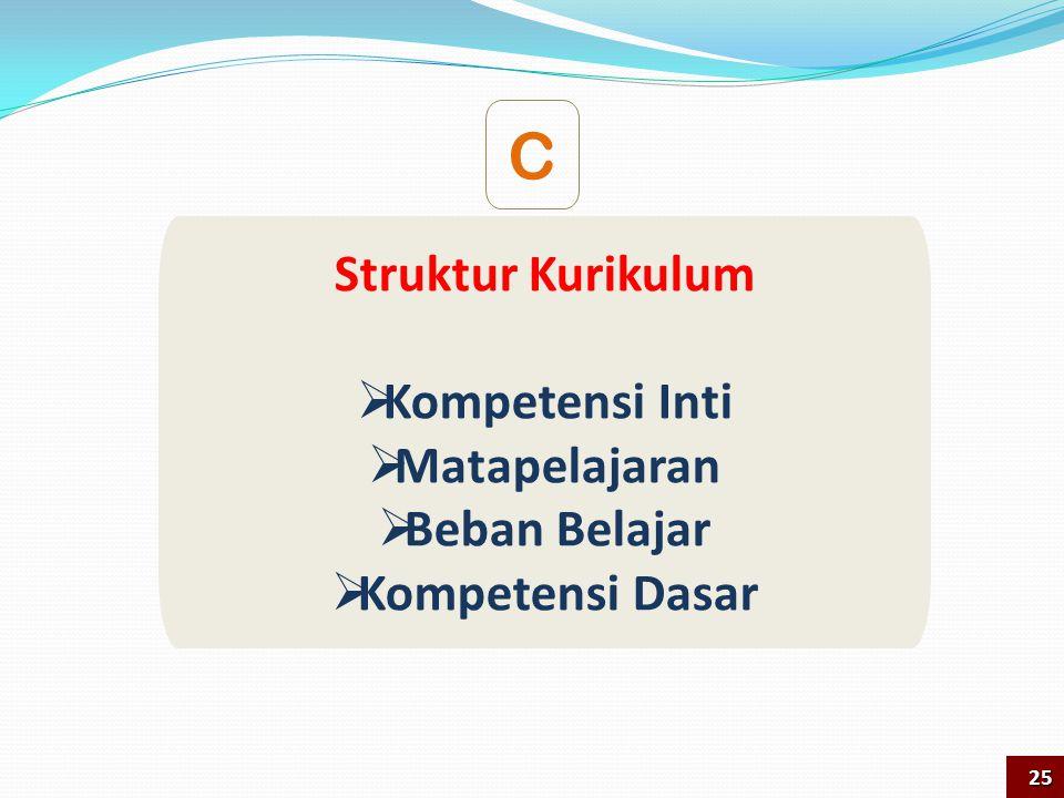 Struktur Kurikulum  Kompetensi Inti  Matapelajaran  Beban Belajar  Kompetensi Dasar C 25