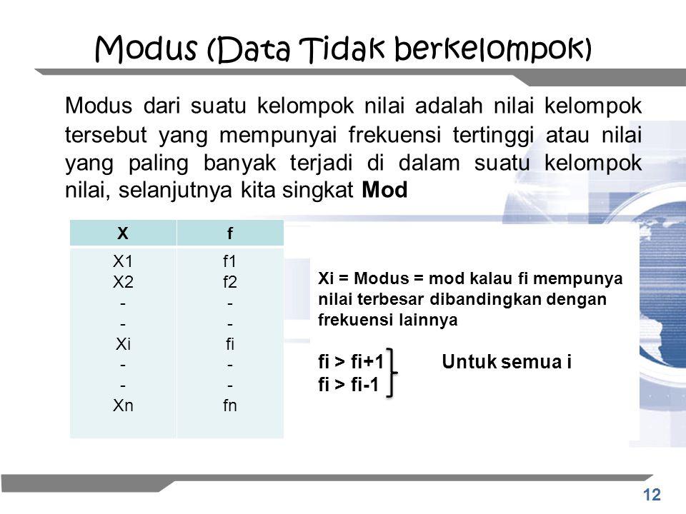 12 Modus (Data Tidak berkelompok) Modus dari suatu kelompok nilai adalah nilai kelompok tersebut yang mempunyai frekuensi tertinggi atau nilai yang pa