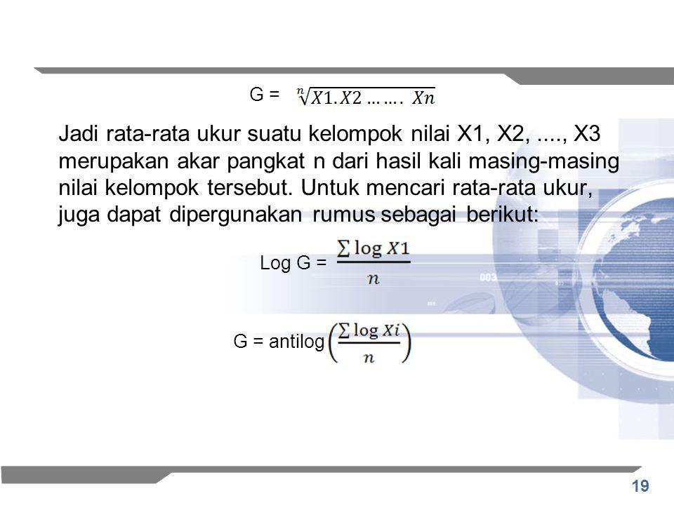 19 Jadi rata-rata ukur suatu kelompok nilai X1, X2,...., X3 merupakan akar pangkat n dari hasil kali masing-masing nilai kelompok tersebut. Untuk menc