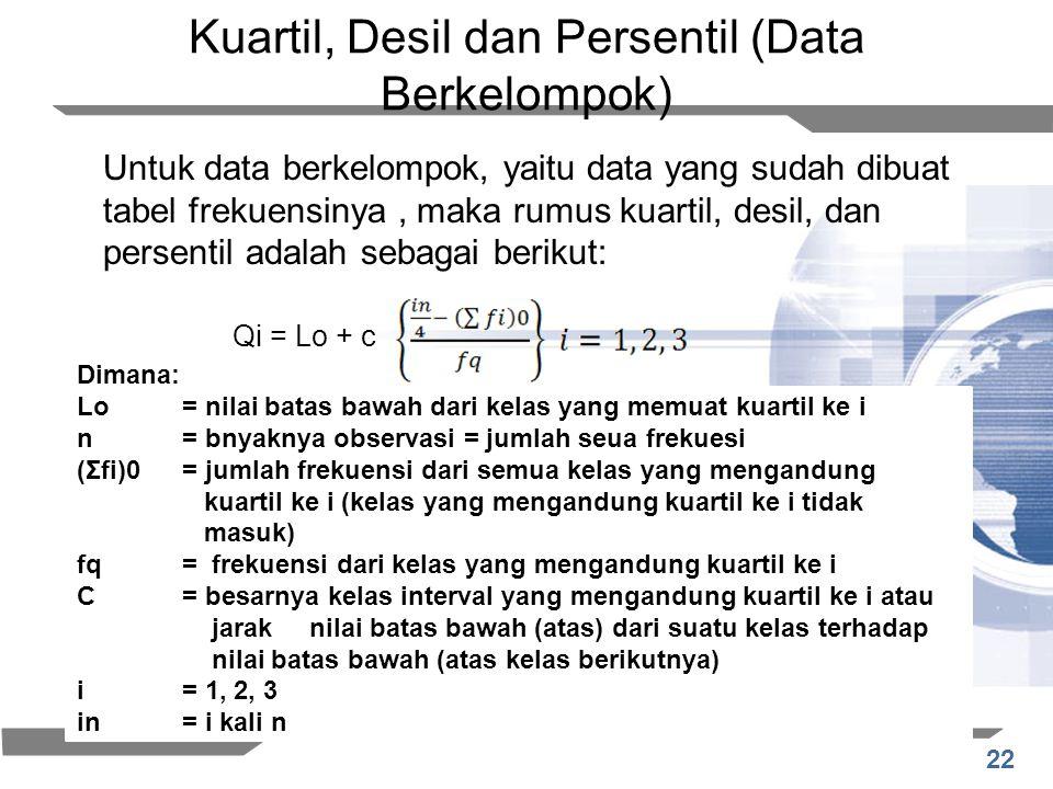 22 Kuartil, Desil dan Persentil (Data Berkelompok) Untuk data berkelompok, yaitu data yang sudah dibuat tabel frekuensinya, maka rumus kuartil, desil,