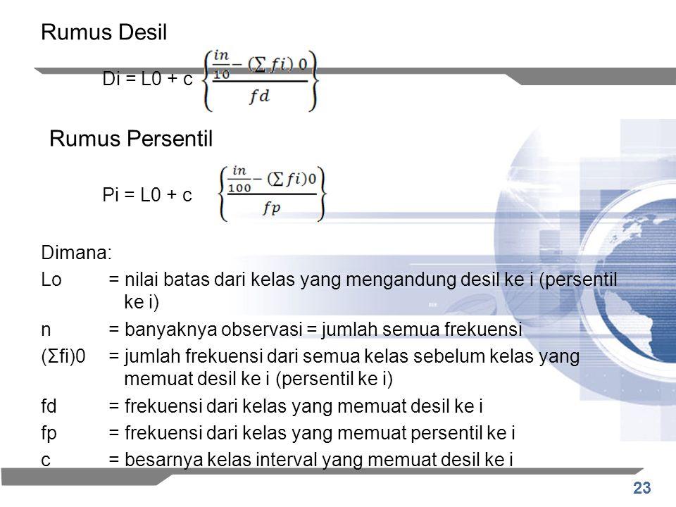 23 Rumus Desil Dimana: Lo= nilai batas dari kelas yang mengandung desil ke i (persentil ke i) n= banyaknya observasi = jumlah semua frekuensi (Σfi)0=