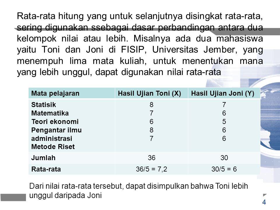 4 Rata-rata hitung yang untuk selanjutnya disingkat rata-rata, sering digunakan ssebagai dasar perbandingan antara dua kelompok nilai atau lebih. Misa