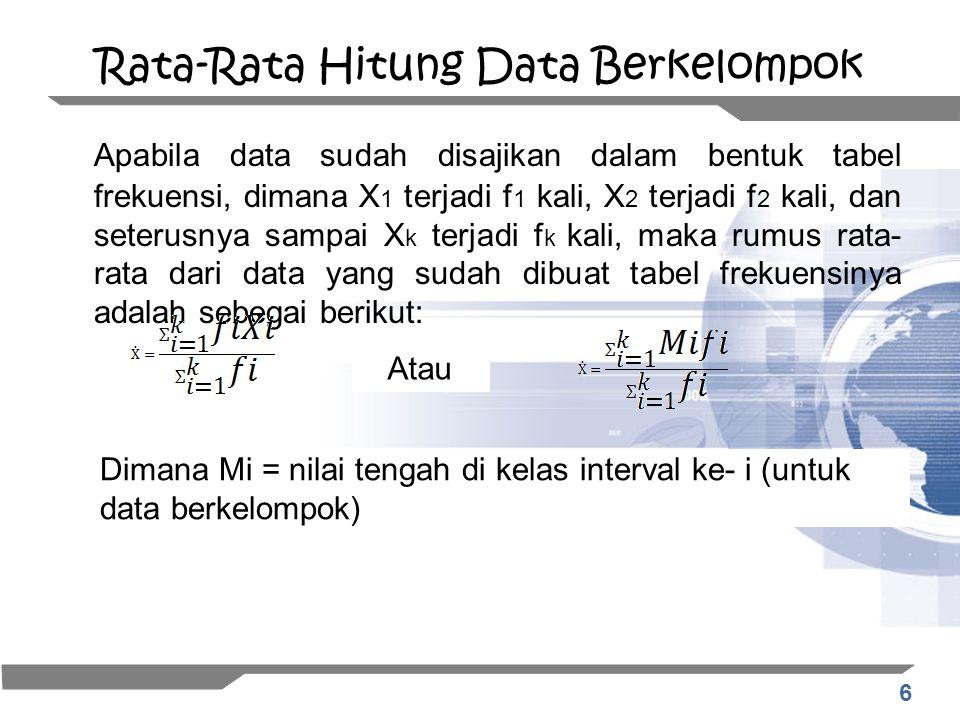 6 Rata-Rata Hitung Data Berkelompok Apabila data sudah disajikan dalam bentuk tabel frekuensi, dimana X 1 terjadi f 1 kali, X 2 terjadi f 2 kali, dan