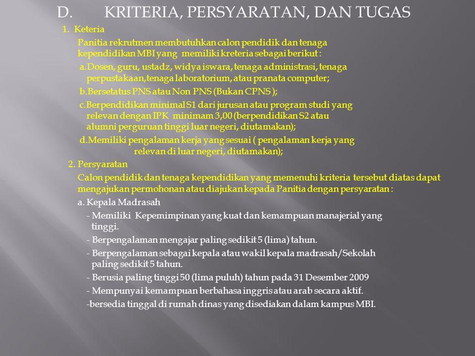 D.KRITERIA, PERSYARATAN, DAN TUGAS 1.