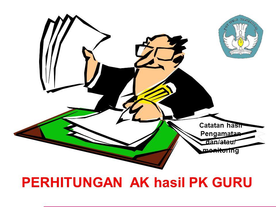 Catatan hasil Pengamatan dan/atau/ monitoring PERHITUNGAN AK hasil PK GURU