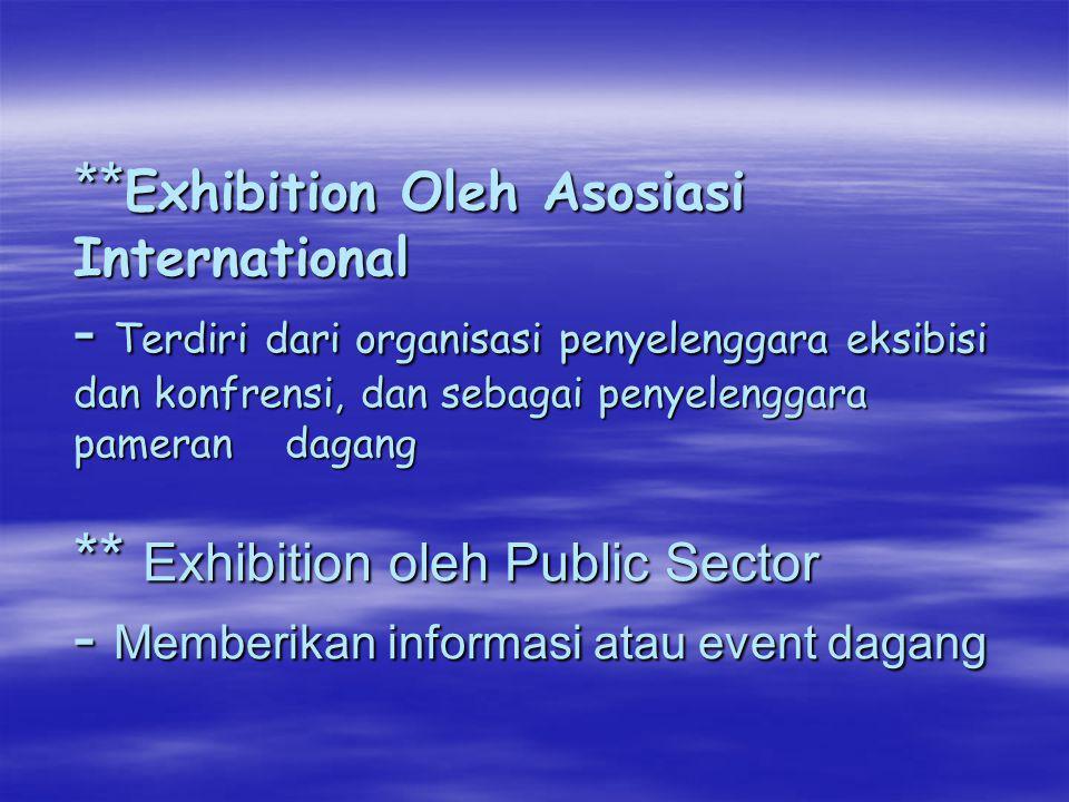 ** Exhibition Oleh Asosiasi International - Terdiri dari organisasi penyelenggara eksibisi dan konfrensi, dan sebagai penyelenggara pameran dagang **