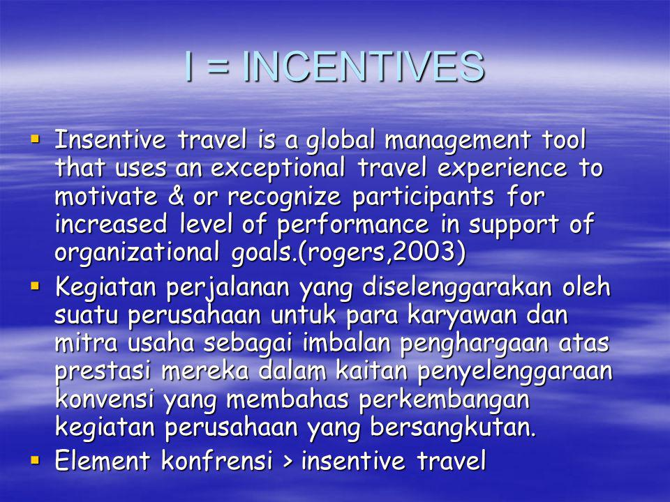 I = INCENTIVES  Insentive travel is a global management tool that uses an exceptional travel experience to motivate & or recognize participants for increased level of performance in support of organizational goals.(rogers,2003)  Kegiatan perjalanan yang diselenggarakan oleh suatu perusahaan untuk para karyawan dan mitra usaha sebagai imbalan penghargaan atas prestasi mereka dalam kaitan penyelenggaraan konvensi yang membahas perkembangan kegiatan perusahaan yang bersangkutan.