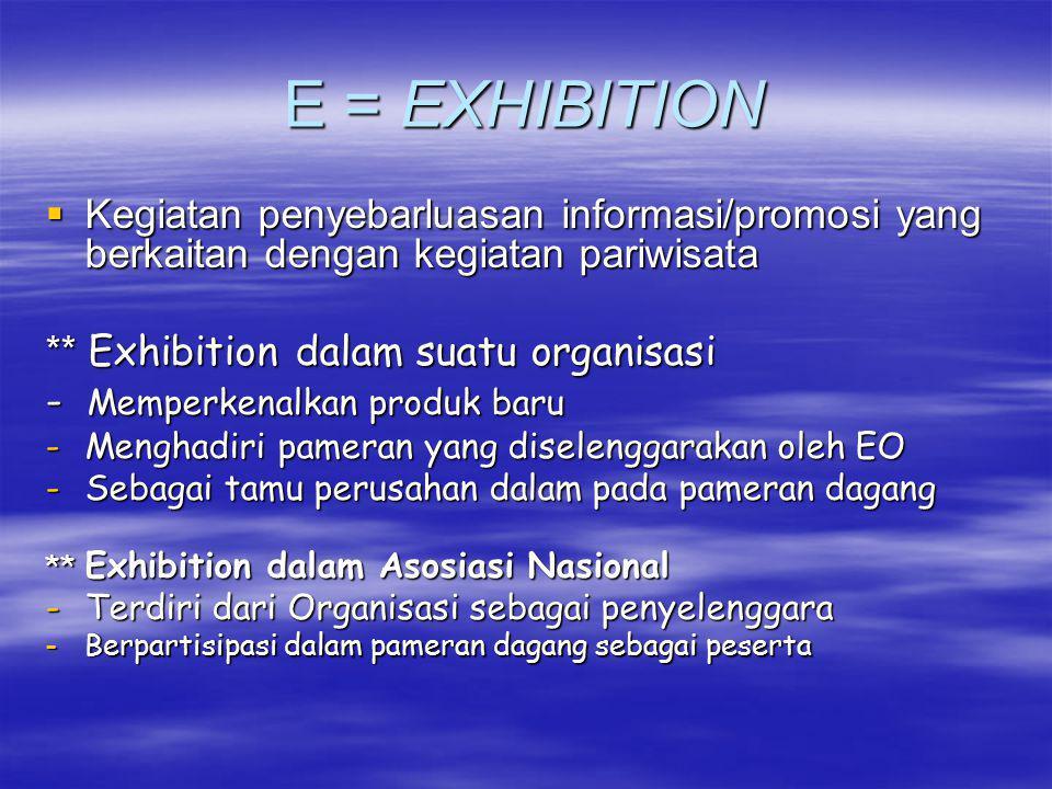 E = EXHIBITION  Kegiatan penyebarluasan informasi/promosi yang berkaitan dengan kegiatan pariwisata ** Exhibition dalam suatu organisasi - Memperkena