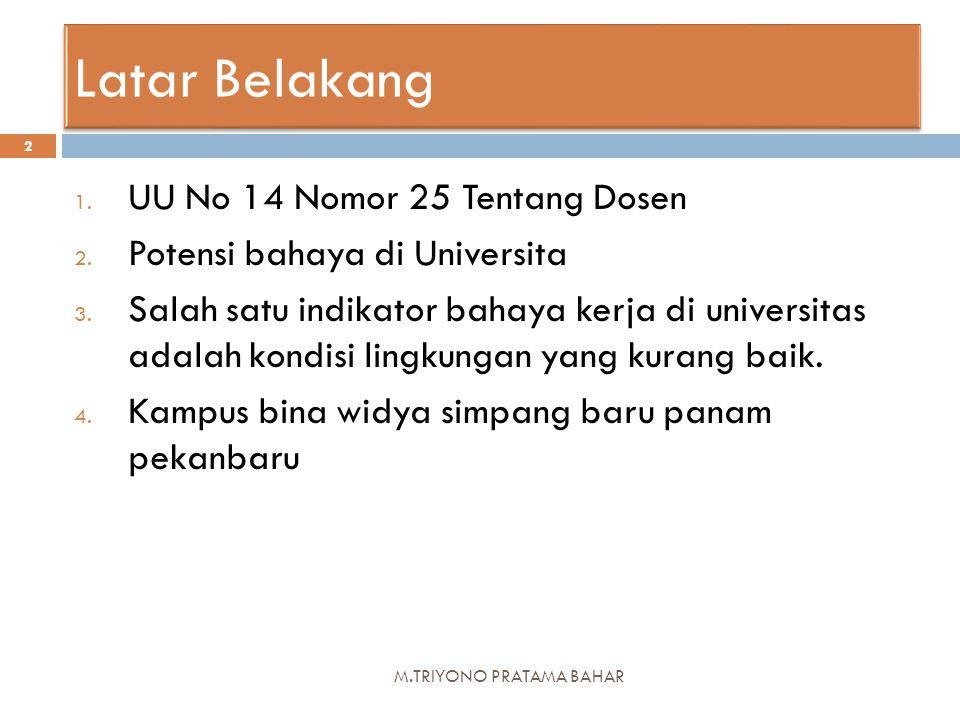 M.TRIYONO PRATAMA BAHAR 2 1. UU No 14 Nomor 25 Tentang Dosen 2. Potensi bahaya di Universita 3. Salah satu indikator bahaya kerja di universitas adala