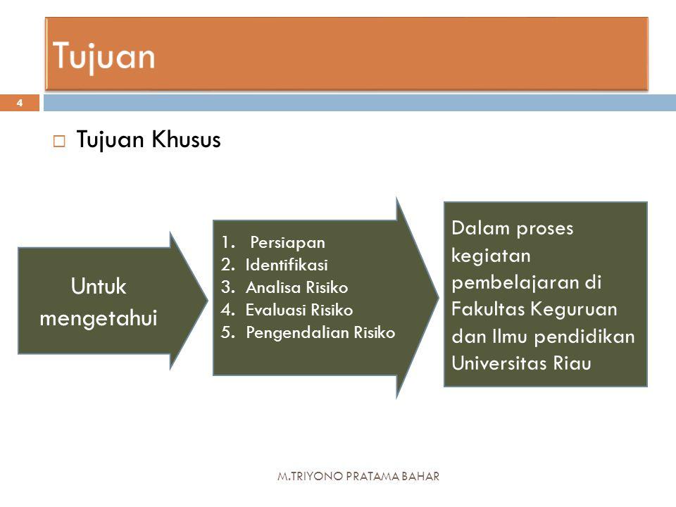 M.TRIYONO PRATAMA BAHAR 4  Tujuan Khusus Untuk mengetahui 1.