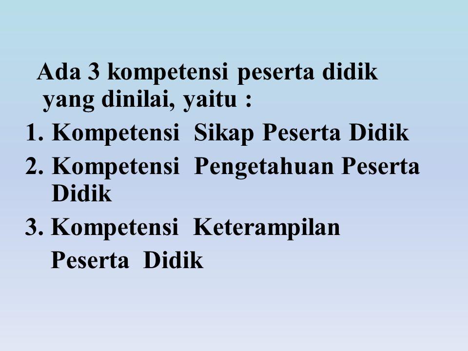 Ada 3 kompetensi peserta didik yang dinilai, yaitu : 1.Kompetensi Sikap Peserta Didik 2.Kompetensi Pengetahuan Peserta Didik 3. Kompetensi Keterampila