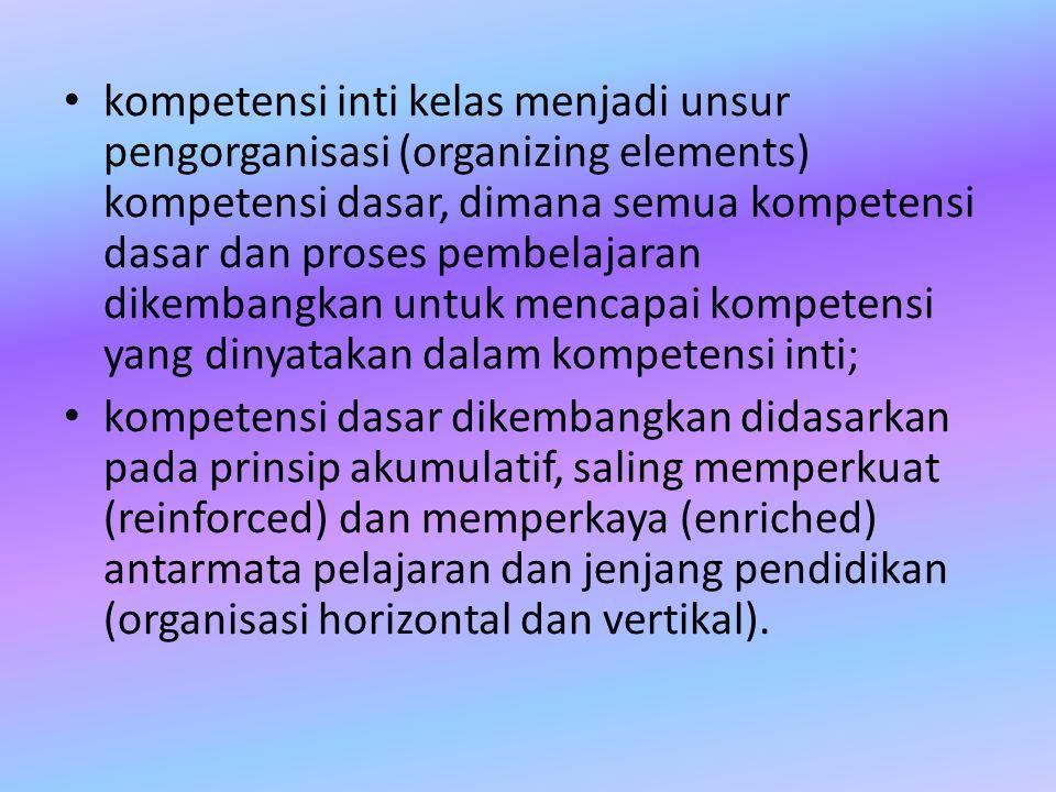 kompetensi inti kelas menjadi unsur pengorganisasi (organizing elements) kompetensi dasar, dimana semua kompetensi dasar dan proses pembelajaran dikem