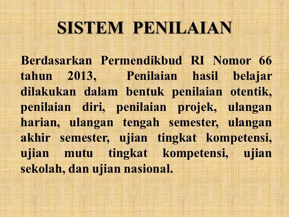 SISTEM PENILAIAN Berdasarkan Permendikbud RI Nomor 66 tahun 2013, Penilaian hasil belajar dilakukan dalam bentuk penilaian otentik, penilaian diri, pe