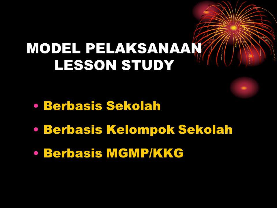 MODEL PELAKSANAAN LESSON STUDY Berbasis Sekolah Berbasis Kelompok Sekolah Berbasis MGMP/KKG