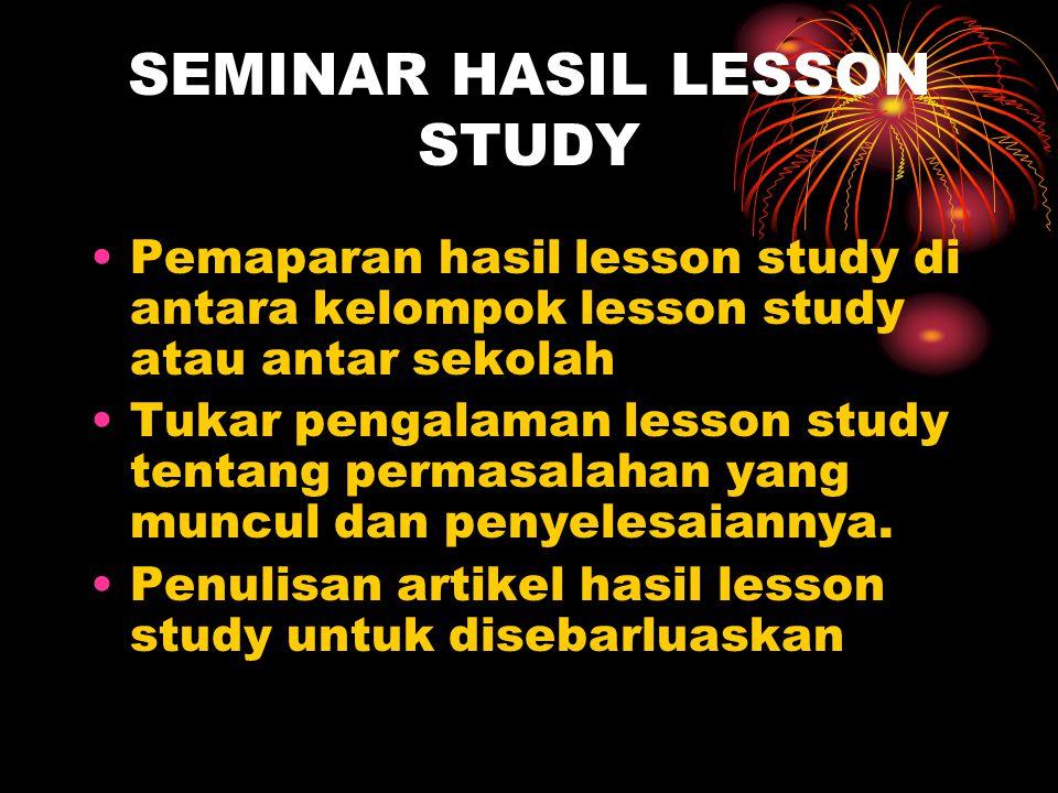 SEMINAR HASIL LESSON STUDY Pemaparan hasil lesson study di antara kelompok lesson study atau antar sekolah Tukar pengalaman lesson study tentang permasalahan yang muncul dan penyelesaiannya.