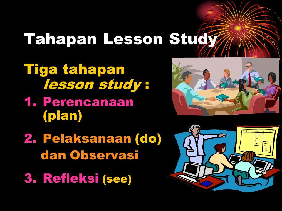 Tahapan Lesson Study Tiga tahapan lesson study : 1.Perencanaan (plan) 2.Pelaksanaan (do) dan Observasi 3.Refleksi (see)