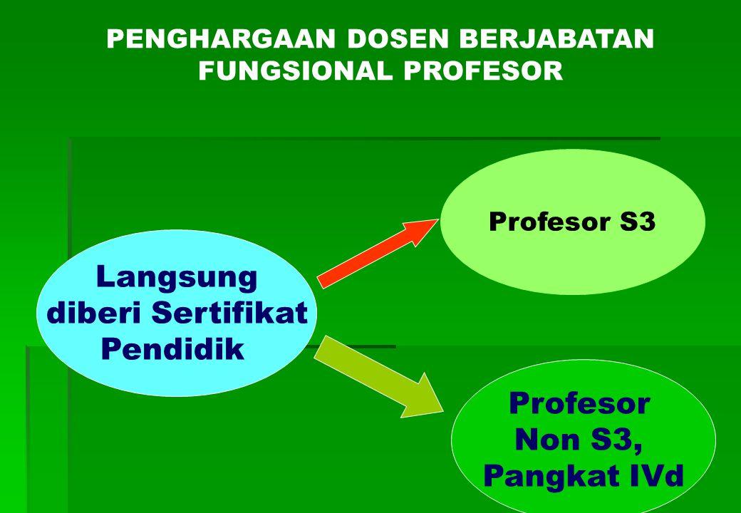 Langsung diberi Sertifikat Pendidik Profesor Non S3, Pangkat IVd Profesor S3 PENGHARGAAN DOSEN BERJABATAN FUNGSIONAL PROFESOR