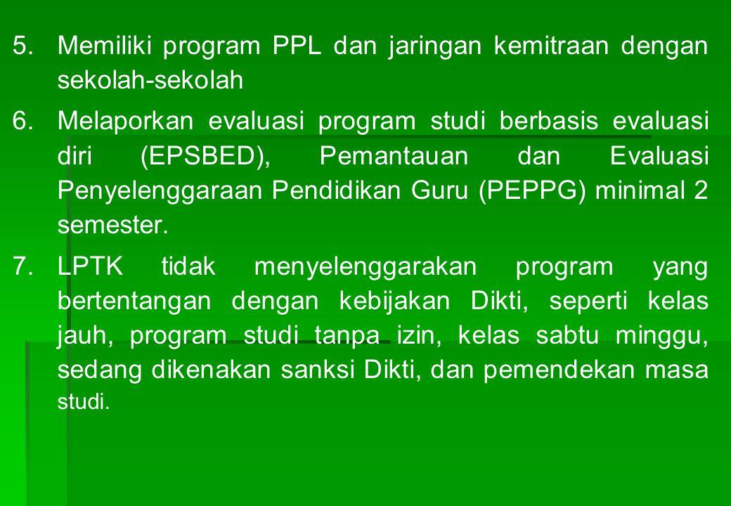 5.5.Memiliki program PPL dan jaringan kemitraan dengan sekolah-sekolah 6.