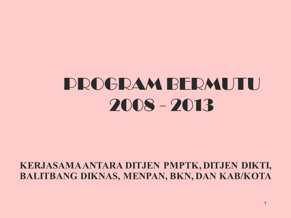 1 KERJASAMA ANTARA DITJEN PMPTK, DITJEN DIKTI, BALITBANG DIKNAS, MENPAN, BKN, DAN KAB/KOTA PROGRAM BERMUTU 2008 - 2013