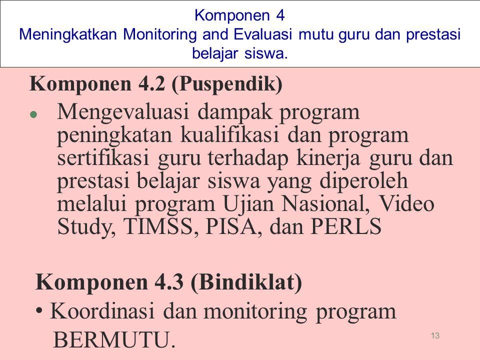 13 Komponen 4 Meningkatkan Monitoring and Evaluasi mutu guru dan prestasi belajar siswa. Komponen 4.2 (Puspendik) l Mengevaluasi dampak program pening