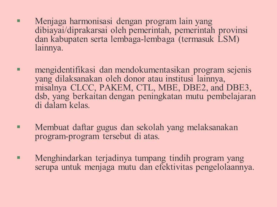 §Menjaga harmonisasi dengan program lain yang dibiayai/diprakarsai oleh pemerintah, pemerintah provinsi dan kabupaten serta lembaga-lembaga (termasuk