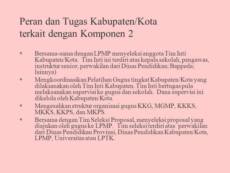 Peran dan Tugas Kabupaten/Kota terkait dengan Komponen 2 §Bersama-sama dengan LPMP menyeleksi anggota Tim Inti Kabupaten/Kota.