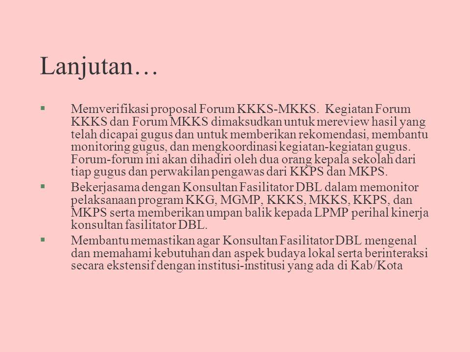 Lanjutan… §Memverifikasi proposal Forum KKKS-MKKS. Kegiatan Forum KKKS dan Forum MKKS dimaksudkan untuk mereview hasil yang telah dicapai gugus dan un