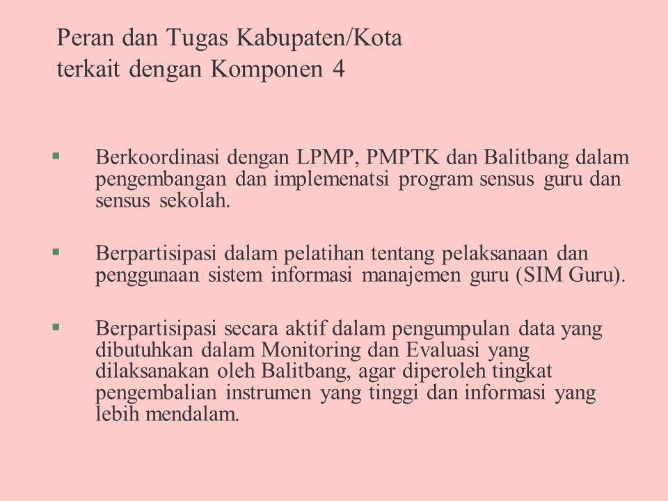 Peran dan Tugas Kabupaten/Kota terkait dengan Komponen 4 §Berkoordinasi dengan LPMP, PMPTK dan Balitbang dalam pengembangan dan implemenatsi program s