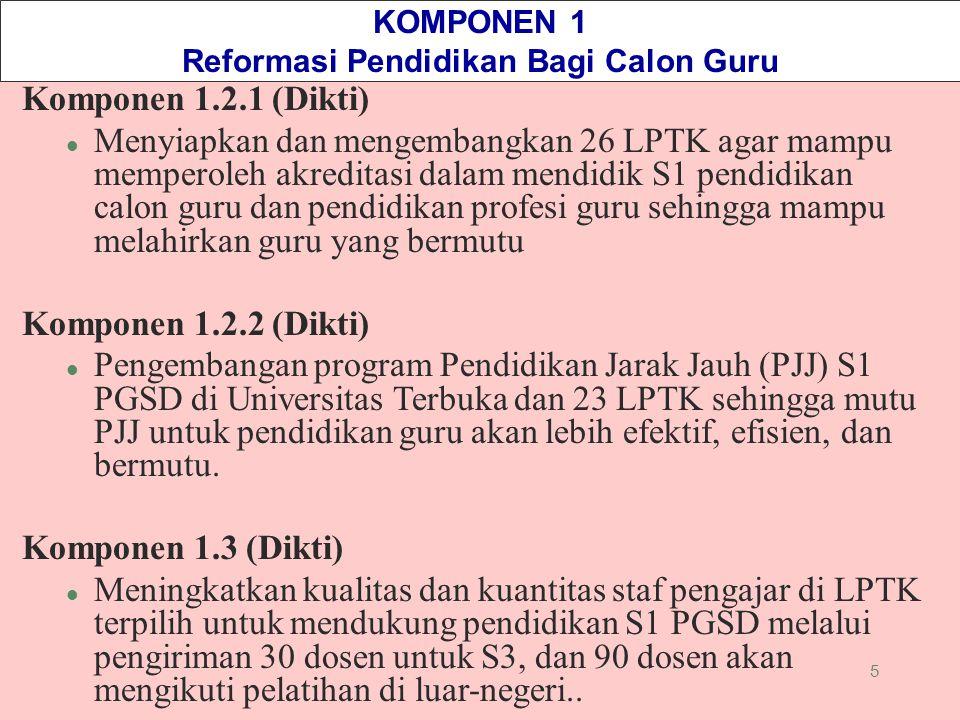 5 KOMPONEN 1 Reformasi Pendidikan Bagi Calon Guru Komponen 1.2.1 (Dikti) l Menyiapkan dan mengembangkan 26 LPTK agar mampu memperoleh akreditasi dalam