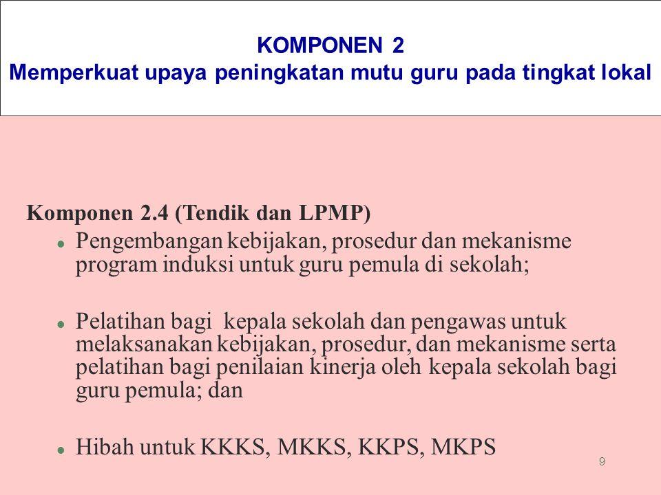 9 KOMPONEN 2 Memperkuat upaya peningkatan mutu guru pada tingkat lokal Komponen 2.4 (Tendik dan LPMP) l Pengembangan kebijakan, prosedur dan mekanisme