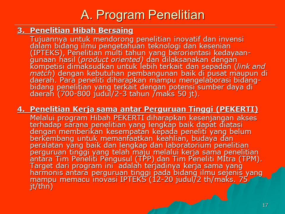 16 A. Program Penelitian 1.Penelitian Dosen Muda/Studi Kajian Wanita Kegiatan pembinaan penelitian yang mengarahkan dan membimbing calon peneliti untu