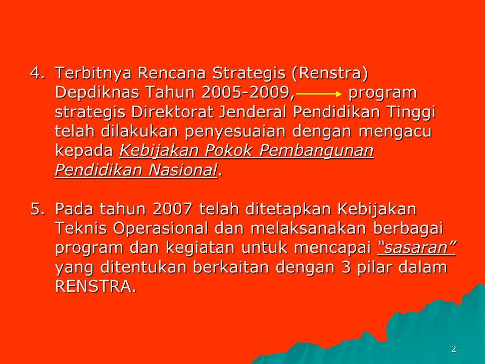 1 DP2M-DIKTI RENSTRA 2005-2009 DEPARTEMEN PENDIDIKAN NASIONAL 1.Visi: Insan Indonesia Cerdas & Kompetitif 2025 2.Misi: Mewujudkan pendidikan yang mamp