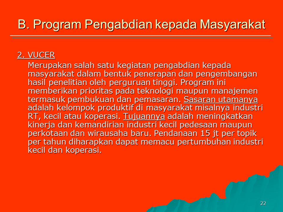 21 B. Program Pengabdian kepada Masyarakat 1.Penerapan IPTEKS Program yang menampung pengabdian kepada masyarakat oleh perguruan tinggi dalam bentuk p