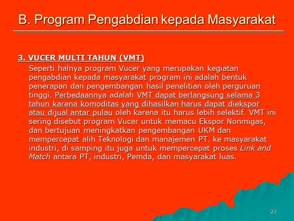 22 B. Program Pengabdian kepada Masyarakat 2. VUCER Merupakan salah satu kegiatan pengabdian kepada masyarakat dalam bentuk penerapan dan pengembangan