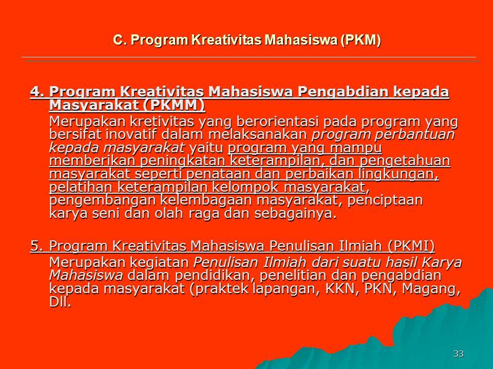 32 1.Program Kreativitas Mahasiswa Penelitian (PKMP) Ini merupakan kreativitas yang inovatif dalam menemukan hasil karya melalui penelitian pada bidan