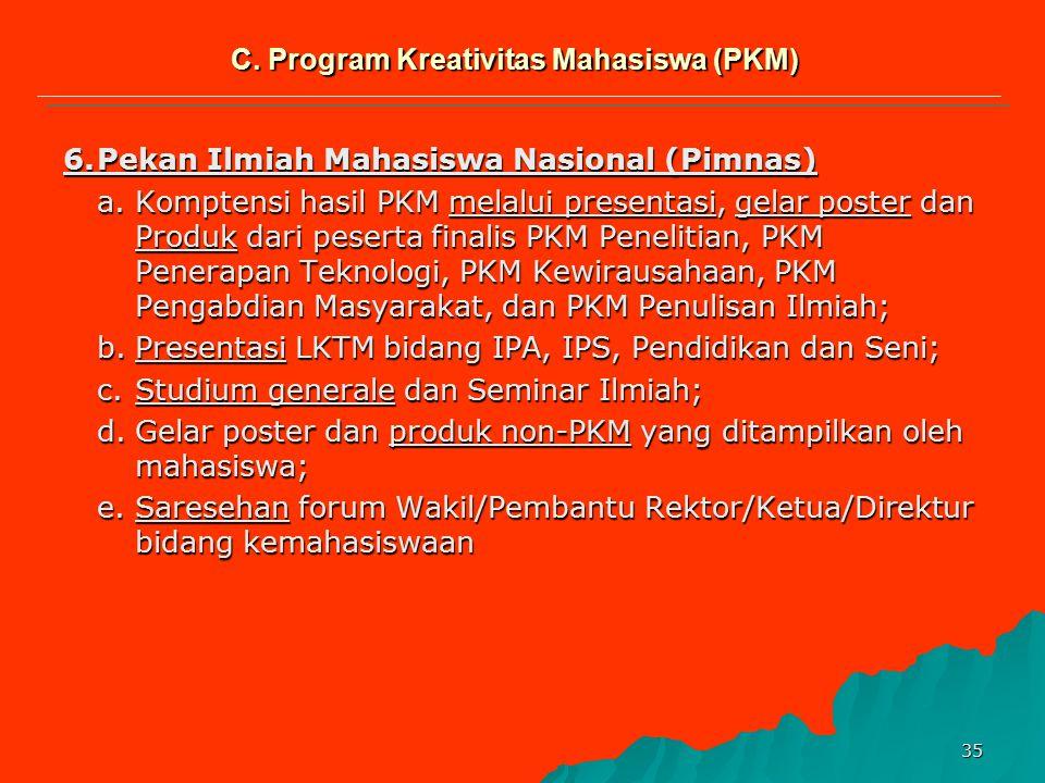 34 Kreteria Program Kreativitas Mahasiswa (PKM) No.Kreteria Jenis Kegiatan PKMPPKMTPKMKPKMMPKMI 1 Inti Kegiatan Karya kreatif, inovatif dalam peneliti