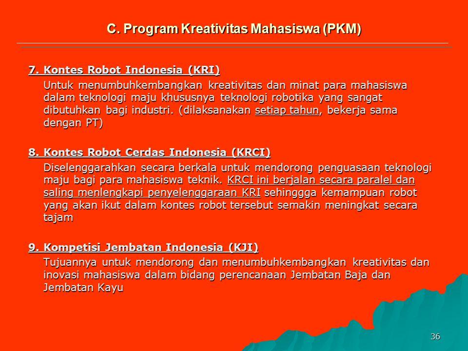 35 6.Pekan Ilmiah Mahasiswa Nasional (Pimnas) a.Komptensi hasil PKM melalui presentasi, gelar poster dan Produk dari peserta finalis PKM Penelitian, P