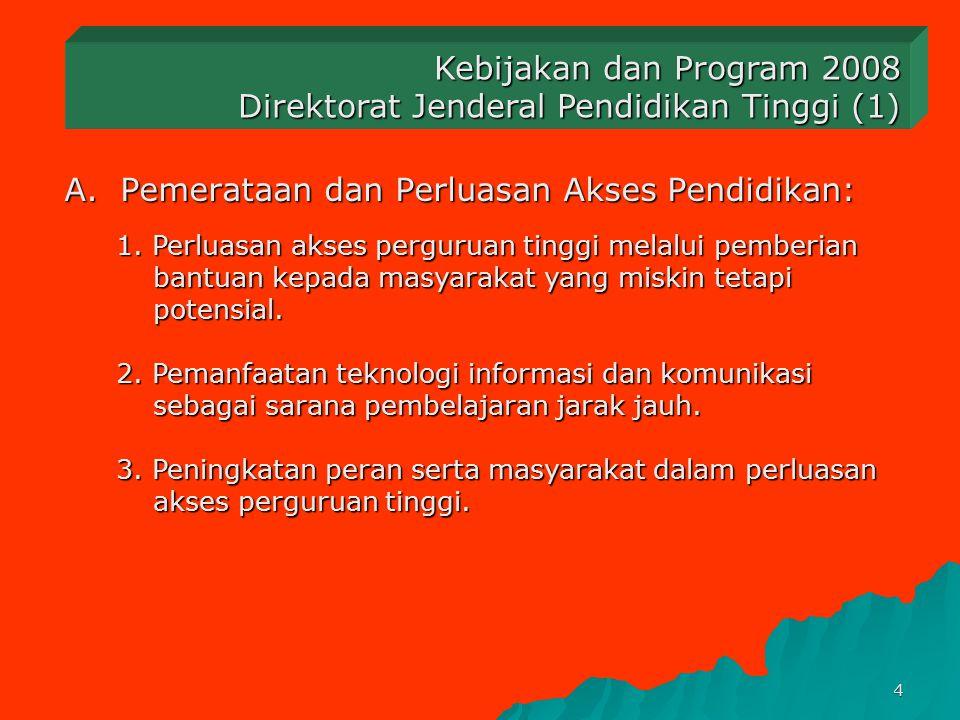 3 Program Pembangunan Depdiknas 2005– 2009 menjadi titik perhatian yang diarahkan untuk mewujudkan kondisi yang diharapkan pada 2009 1.Pemerataan dan