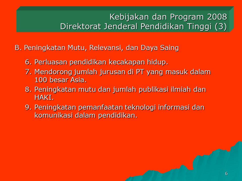 5 B. Peningkatan Mutu, Relevansi, dan Daya Saing Kebijakan dan Program 2008 Direktorat Jenderal Pendidikan Tinggi (2) 1.Penataan dan pengembangan berb