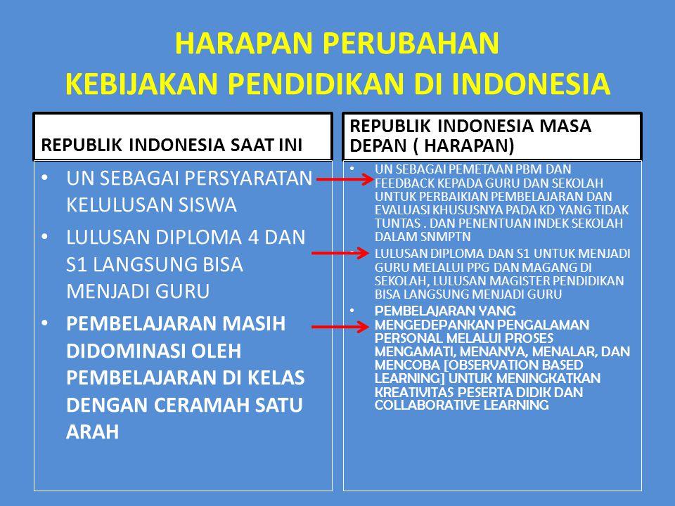 HARAPAN PERUBAHAN KEBIJAKAN PENDIDIKAN DI INDONESIA REPUBLIK INDONESIA SAAT INI UN SEBAGAI PERSYARATAN KELULUSAN SISWA LULUSAN DIPLOMA 4 DAN S1 LANGSU