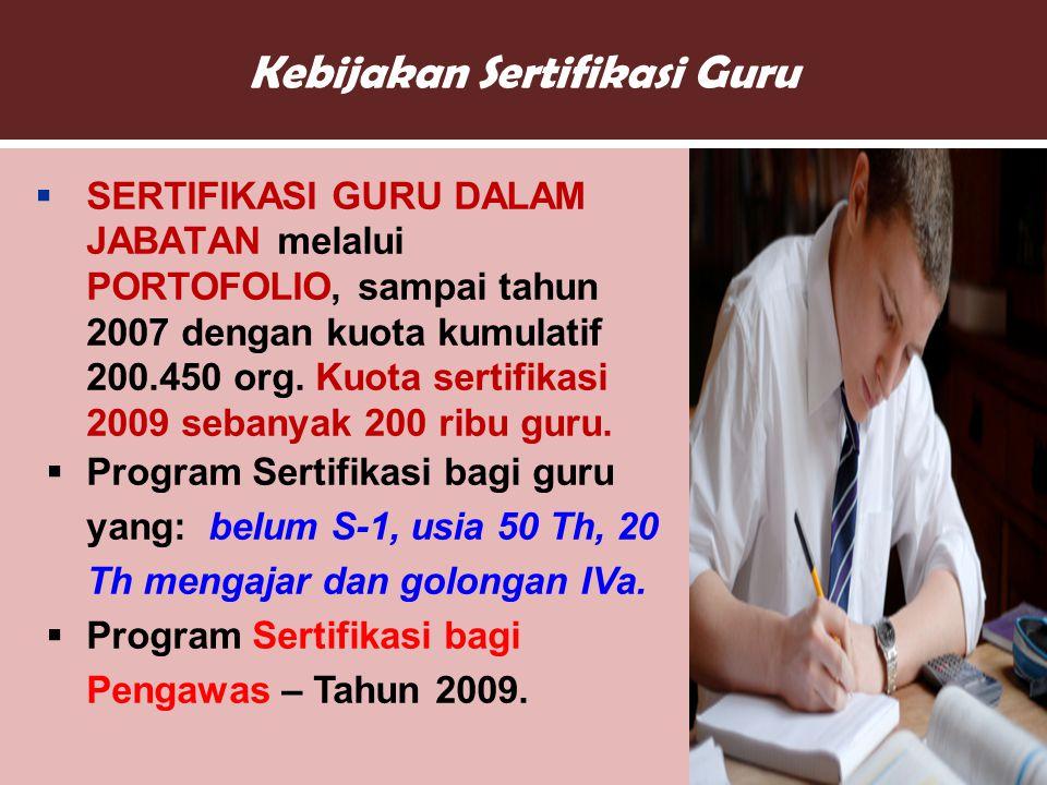 Kebijakan Sertifikasi Guru  SERTIFIKASI GURU DALAM JABATAN melalui PORTOFOLIO, sampai tahun 2007 dengan kuota kumulatif 200.450 org.