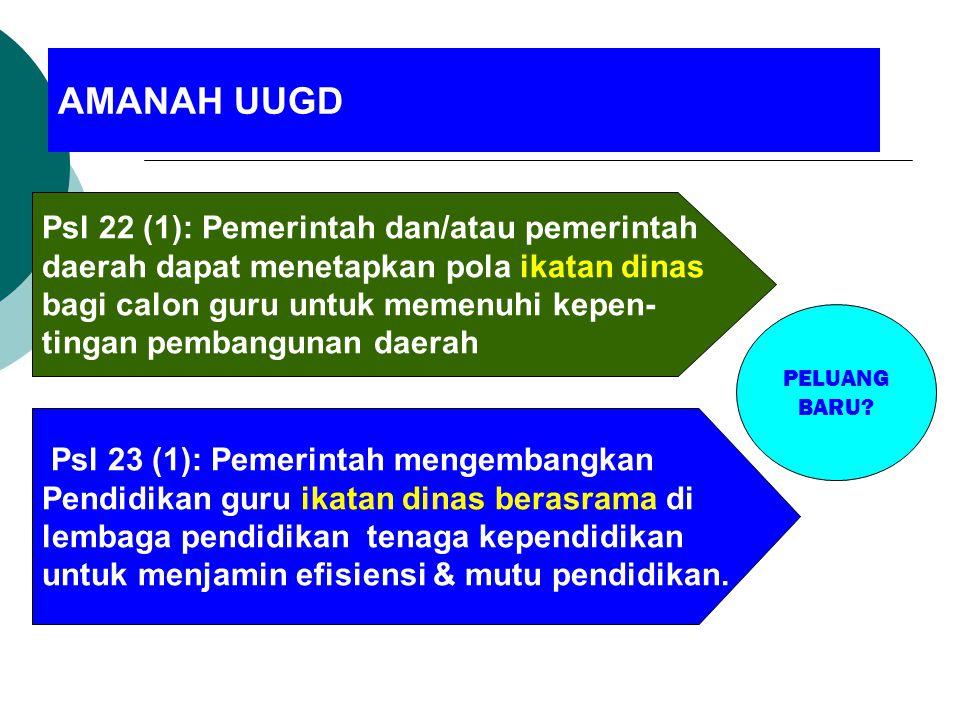 Psl 22 (1): Pemerintah dan/atau pemerintah daerah dapat menetapkan pola ikatan dinas bagi calon guru untuk memenuhi kepen- tingan pembangunan daerah P