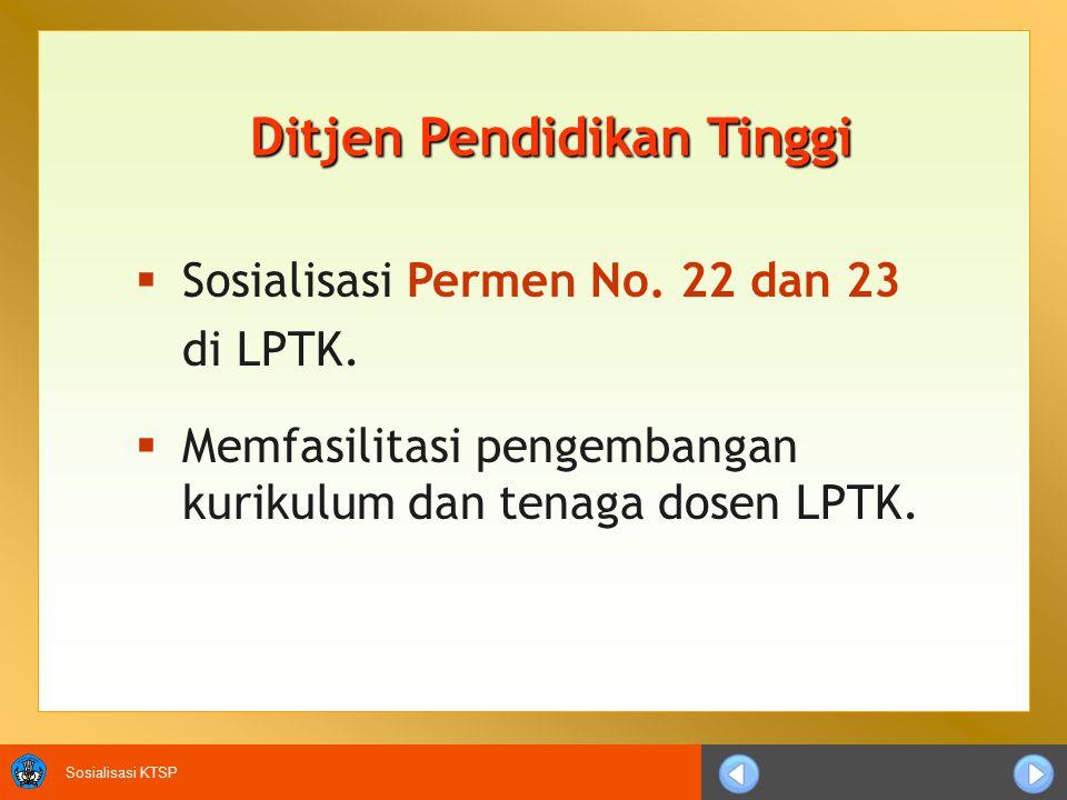 Sosialisasi KTSP Ditjen Pendidikan Tinggi  Sosialisasi Permen No.