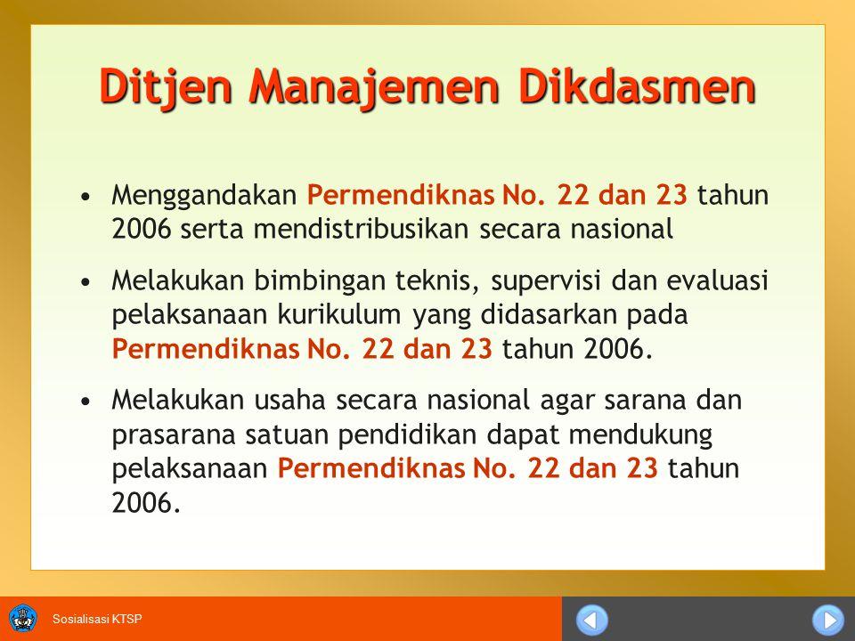 Sosialisasi KTSP Ditjen Manajemen Dikdasmen Menggandakan Permendiknas No.