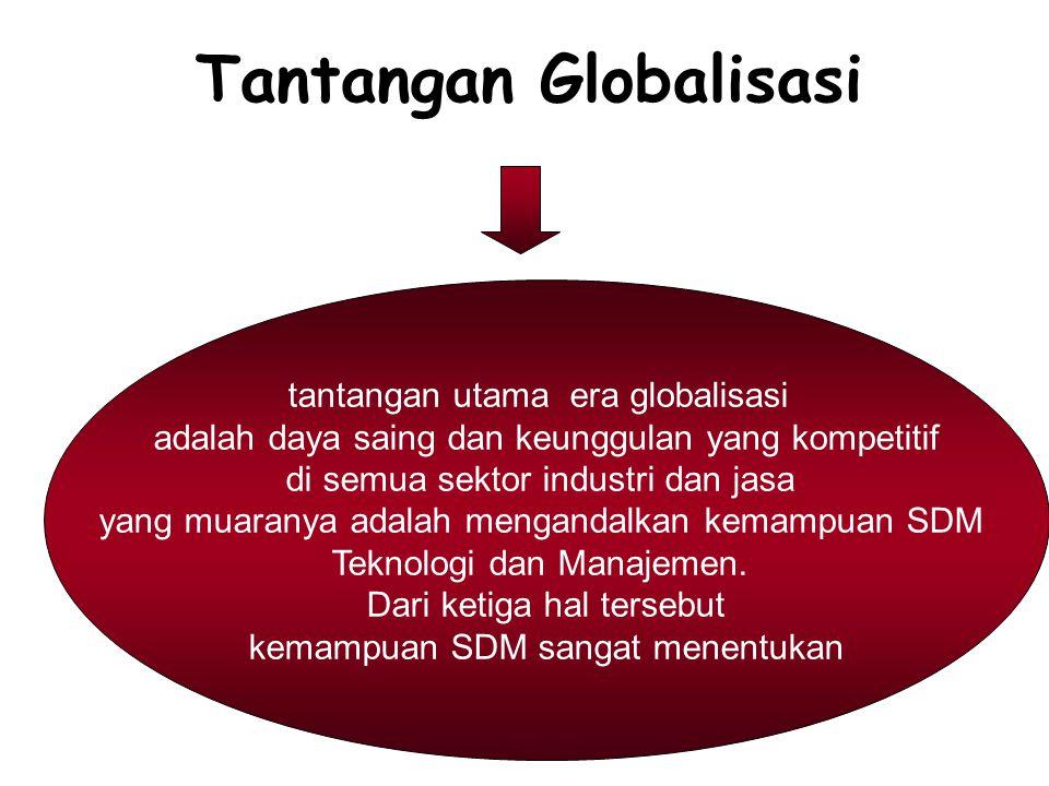 tantangan utama era globalisasi adalah daya saing dan keunggulan yang kompetitif di semua sektor industri dan jasa yang muaranya adalah mengandalkan k