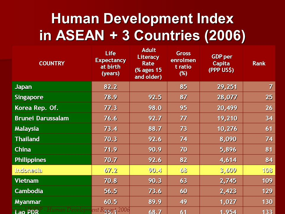 Human Development Index in ASEAN + 3 Countries (2006) COUNTRY Life Expectancy at birth (years) Adult Literacy Rate Adult Literacy Rate (% ages 15 and